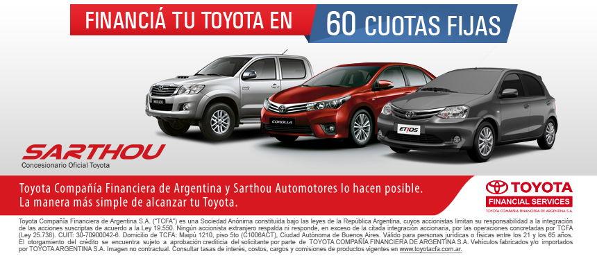 Financiá tu Toyota en 60 cuotas fijas